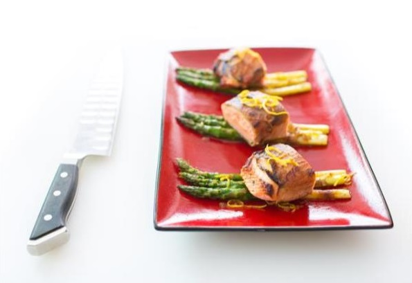 Prosciutto & Apple Crusted Salmon with Whittled Asparagus