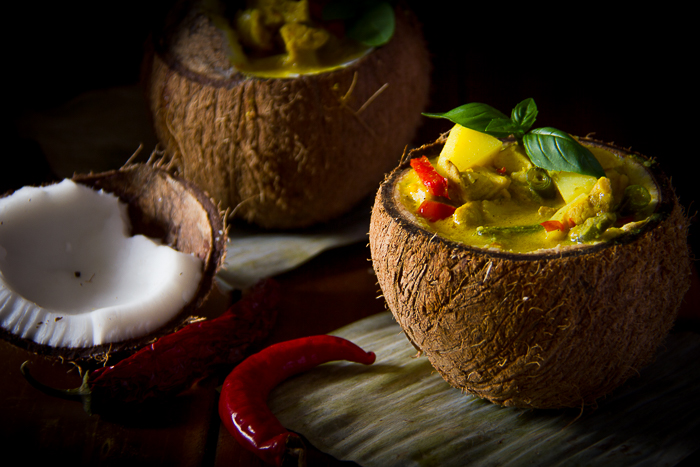 Thai Yellow Curry Served In Coconut Bowls Recipe