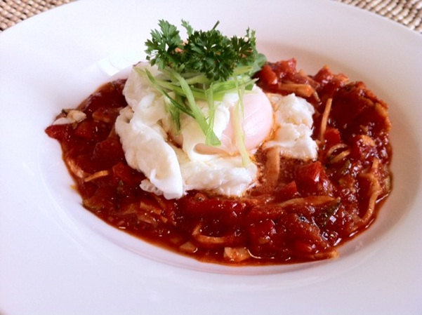 Tomato Sauce and Poached Egg Tapas Style